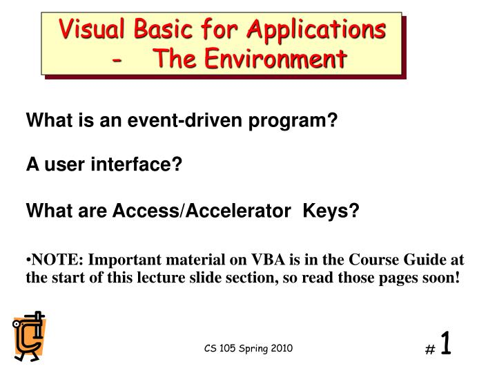 visual basic for applications the environment n.
