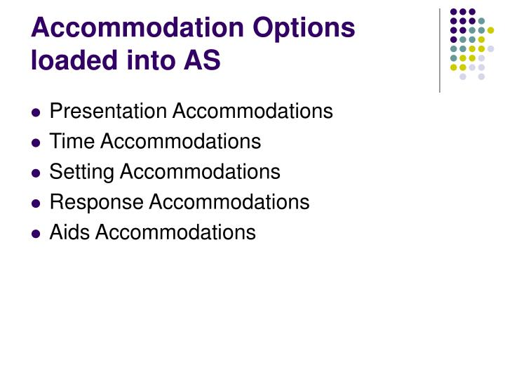 Accommodation Options loaded into AS