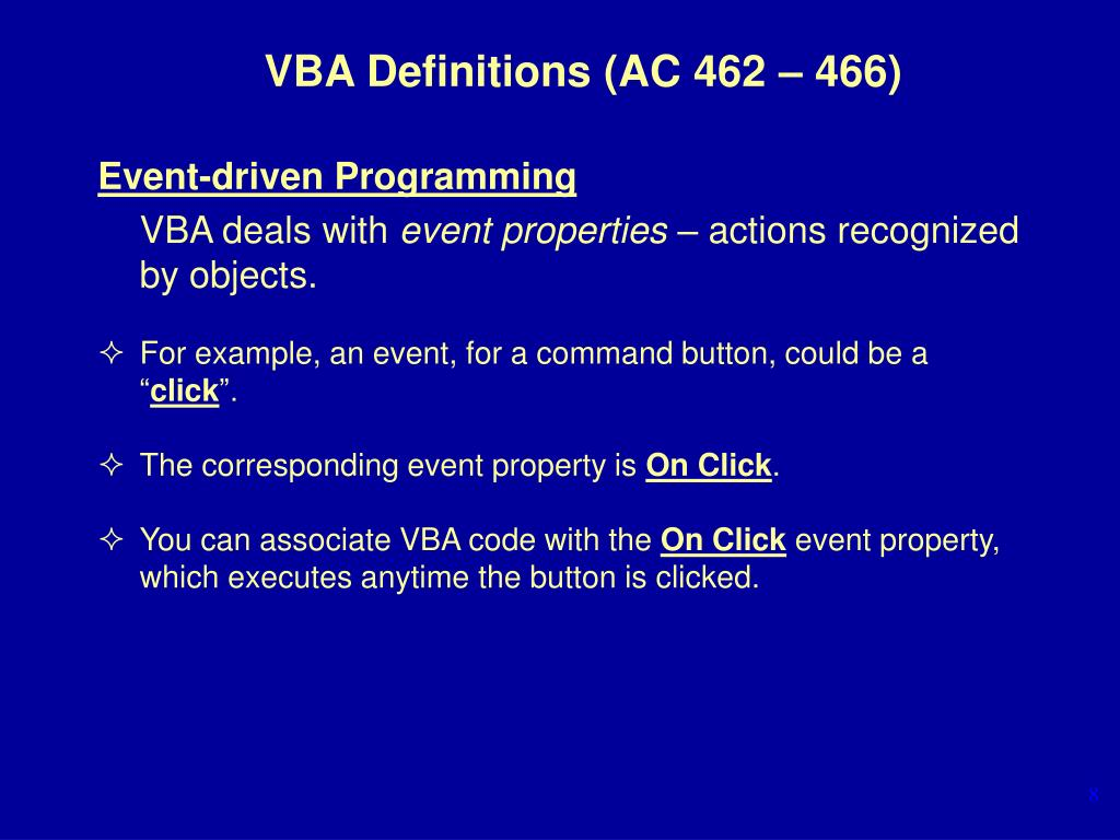 PPT - Using Visual Basic for Applications (VBA) – Project 8