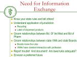 need for information exchange