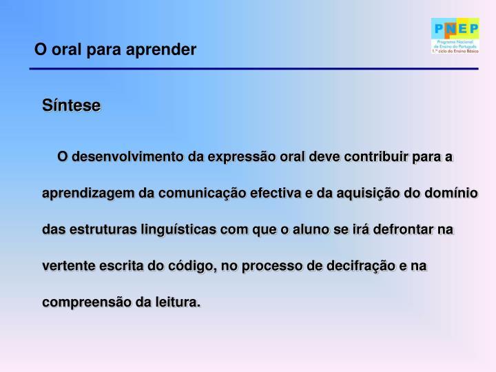 O oral para aprender