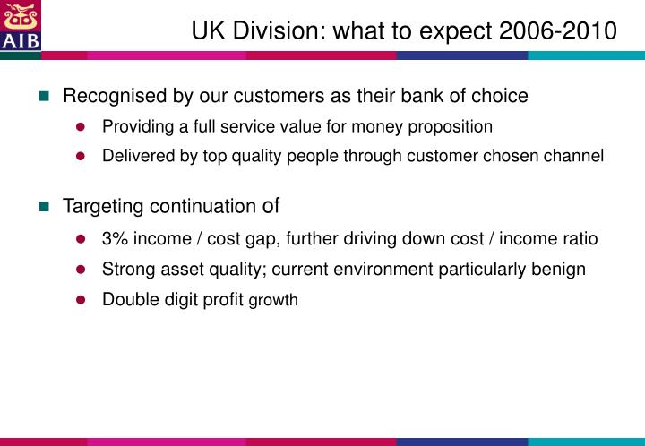 UK Division: what to expect 2006-2010