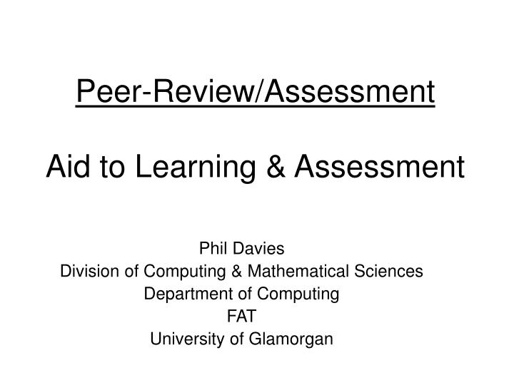 peer review assessment aid to learning assessment n.