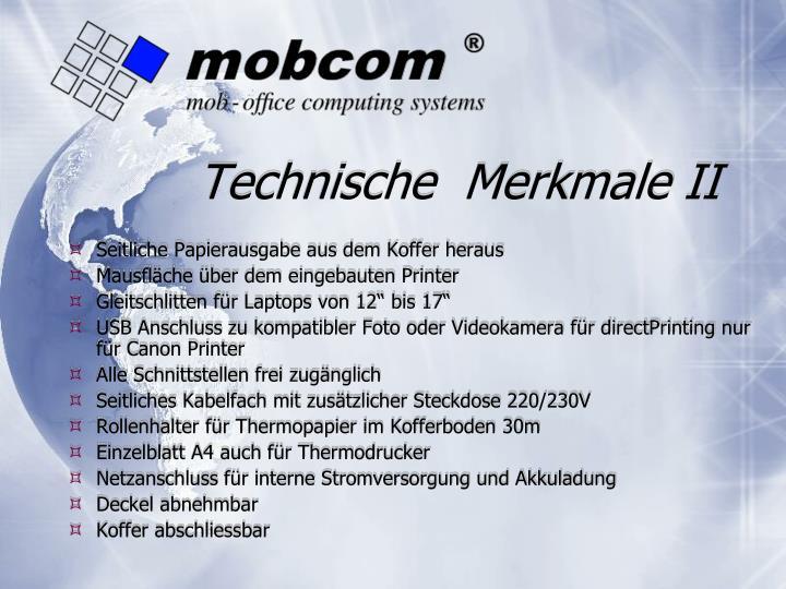 Technische  Merkmale II