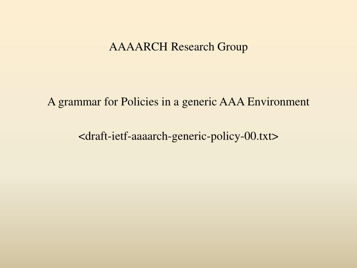 aaaarch research group n.