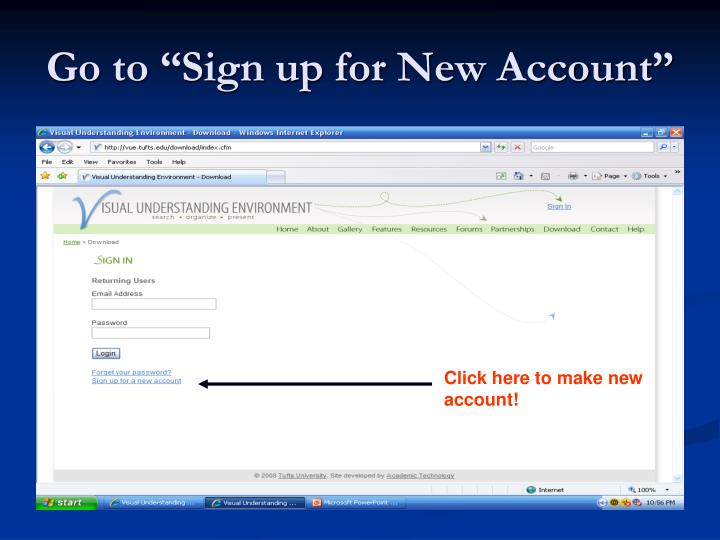 """Go to """"Sign up for New Account"""""""
