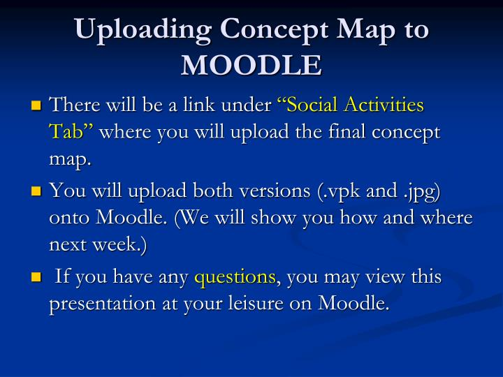 Uploading Concept Map to MOODLE