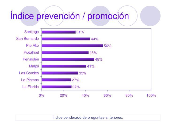Índice prevención / promoción