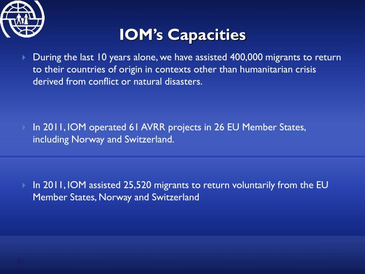 IOM's Capacities