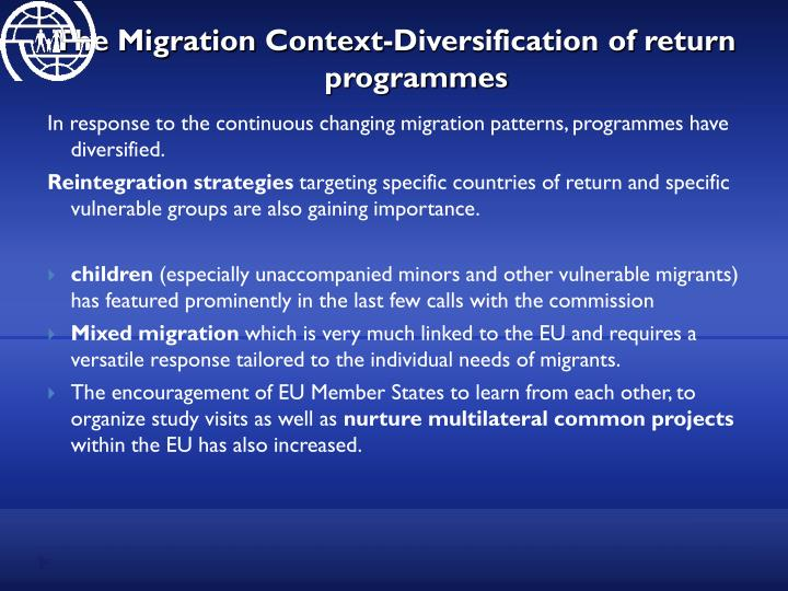 The Migration Context-Diversification of return programmes
