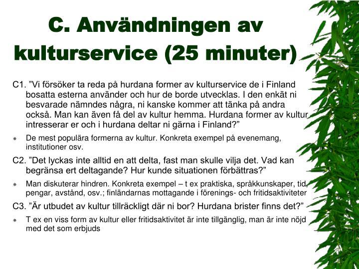 C. Användningen av kulturservice (25 minuter)