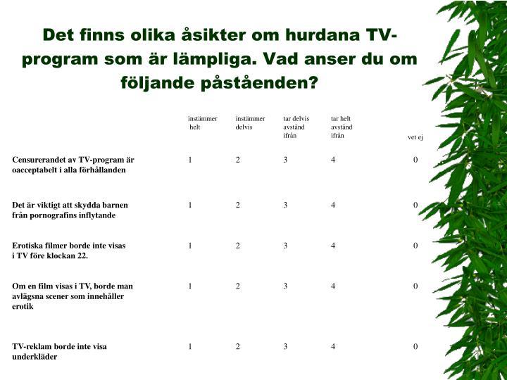 Det finns olika åsikter om hurdana TV-program som är lämpliga. Vad anser du om följande påståenden?
