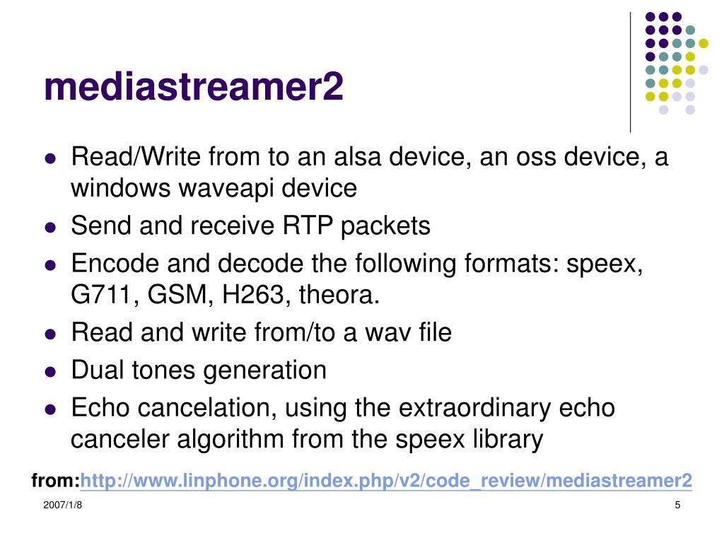 PPT - linphone-1 5 1 - mediastreamer2 PowerPoint Presentation - ID