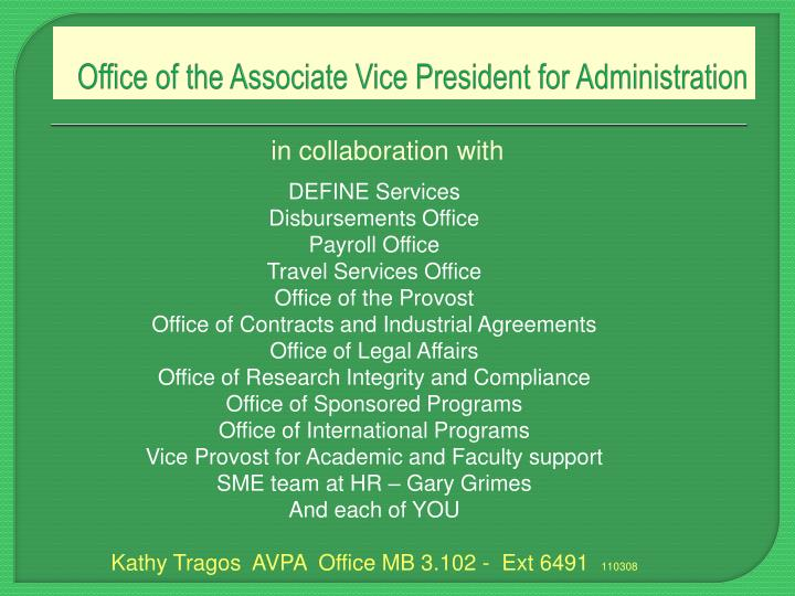 Office of the associate vice president for administration