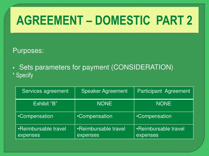 AGREEMENT – DOMESTIC  PART 2