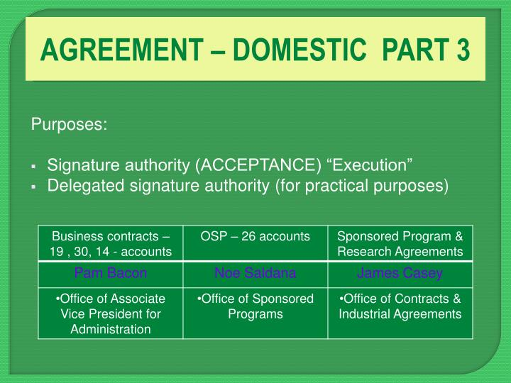AGREEMENT – DOMESTIC  PART 3