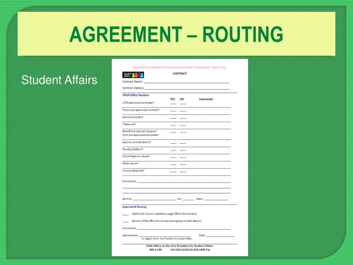 AGREEMENT – ROUTING