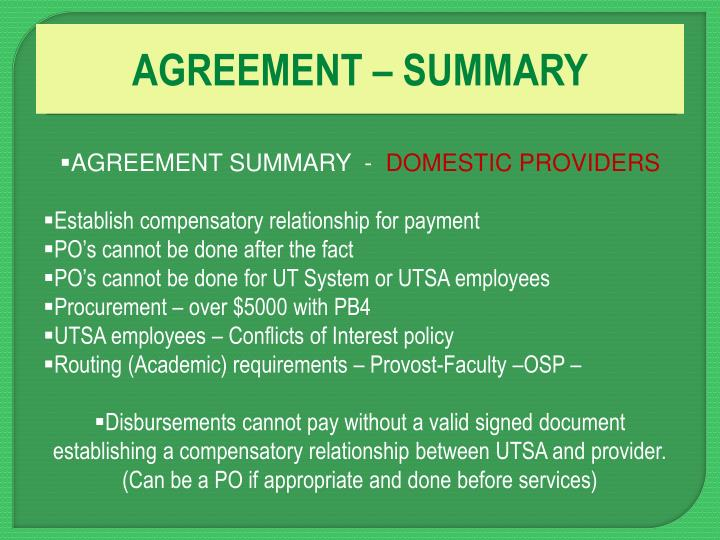 AGREEMENT – SUMMARY