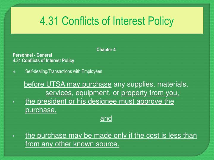 4.31 Conflicts of Interest Policy