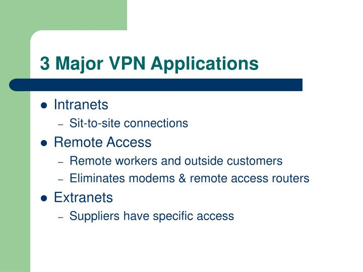 3 Major VPN Applications