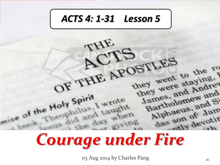 ACTS 4: 1-31    Lesson 5