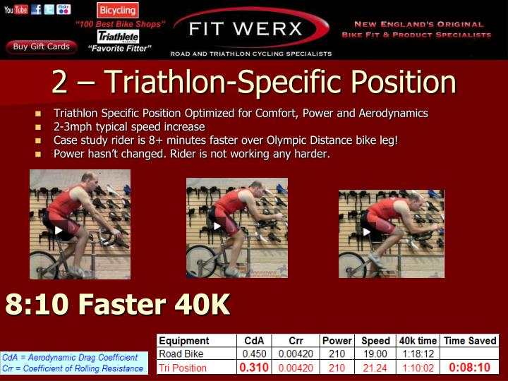 Triathlon Specific Position Optimized for Comfort, Power and Aerodynamics