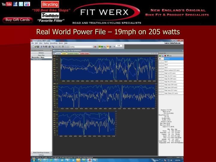 Real world power file 19mph on 205 watts