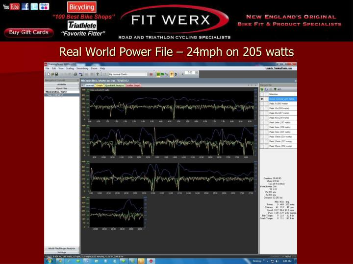 Real World Power File – 24mph on 205 watts