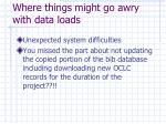 where things might go awry with data loads