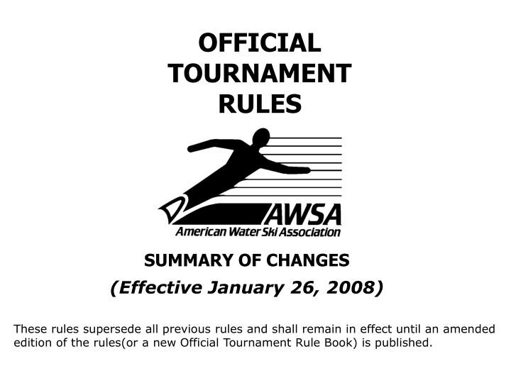 official tournament rules n.