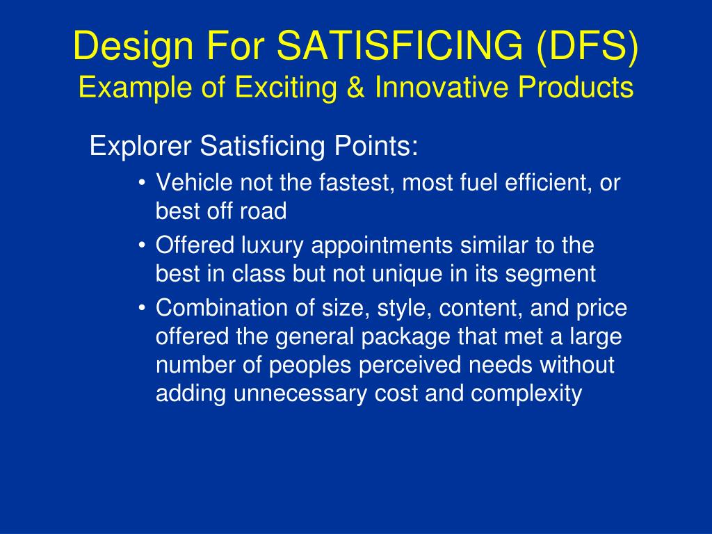 Ppt Mpd 575 Design For Satisficing Dfs Powerpoint Presentation Free Download Id 3965049