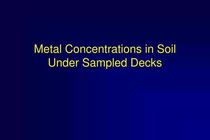 Metal Concentrations in Soil Under Sampled Decks