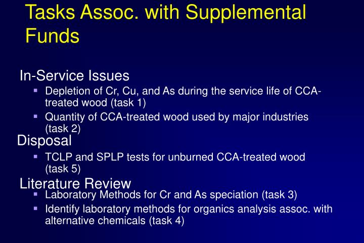 Tasks assoc with supplemental funds