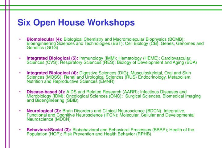 Six Open House Workshops