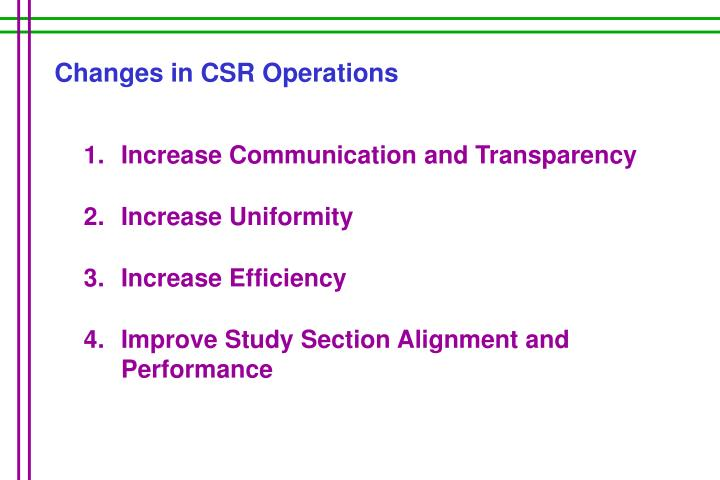 Changes in CSR Operations