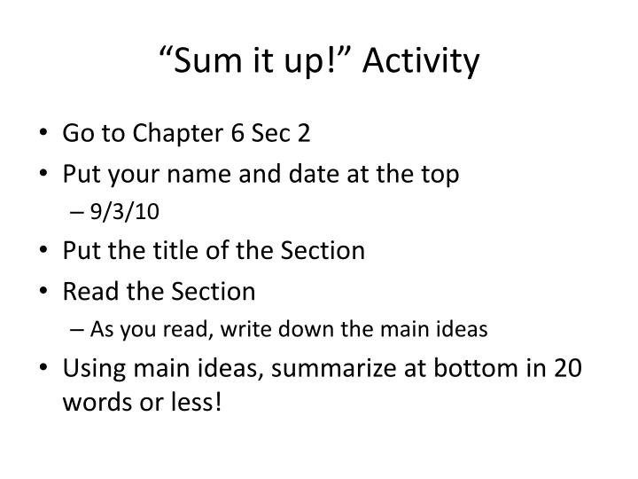 """Sum it up!"" Activity"