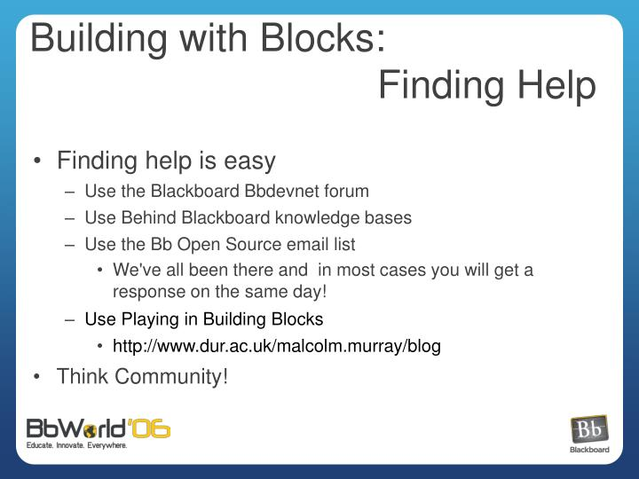 Blackboard Building Blocks Open Source