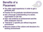benefits of a placement
