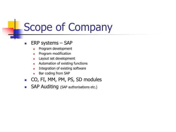 Scope of company