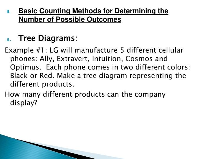 Basic Counting Methods for Determining the Number of Possible Outcomes