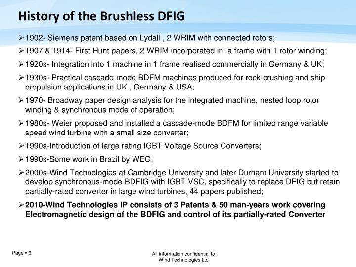 History of the Brushless DFIG