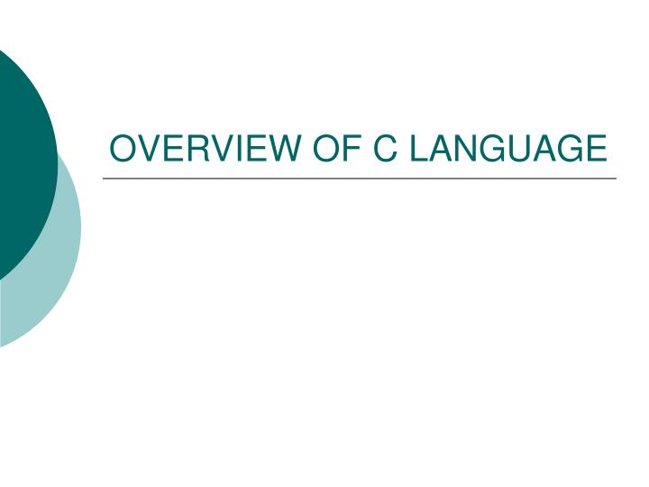 overview of c language n.