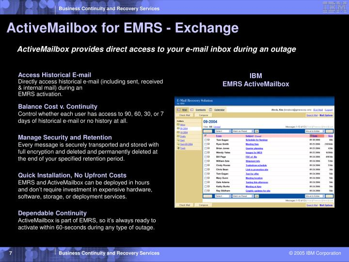 ActiveMailbox for EMRS - Exchange