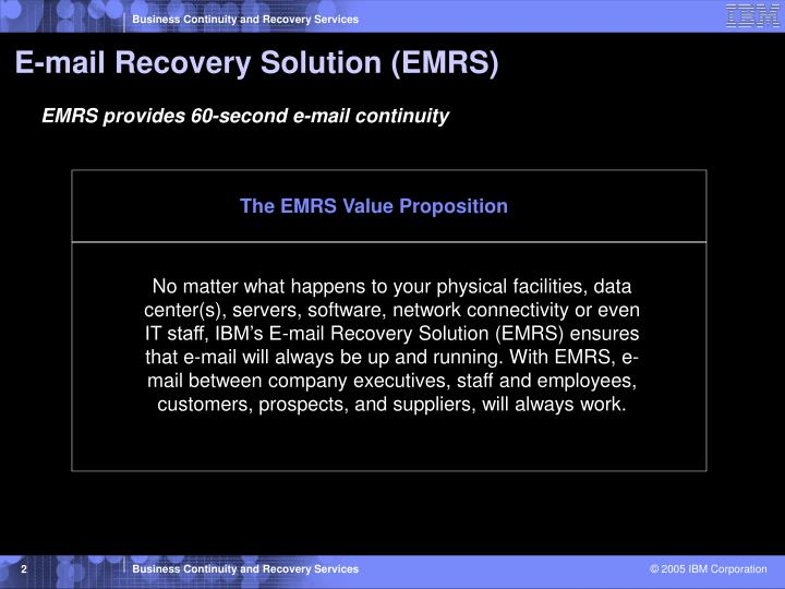E mail recovery solution emrs