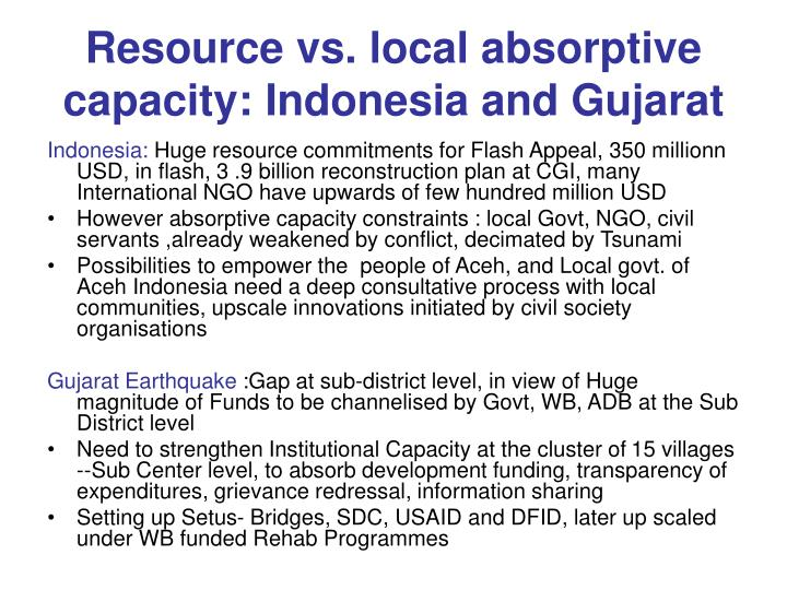 Resource vs. local absorptive capacity: Indonesia and Gujarat