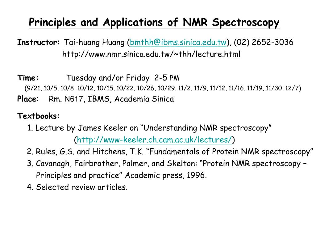 Ppt Principles And Applications Of Nmr Spectroscopy Powerpoint