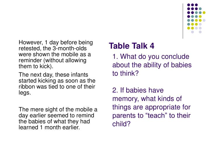 However, 1 day before being retested, the 3-month-olds were shown the mobile as a reminder (without allowing them to kick).