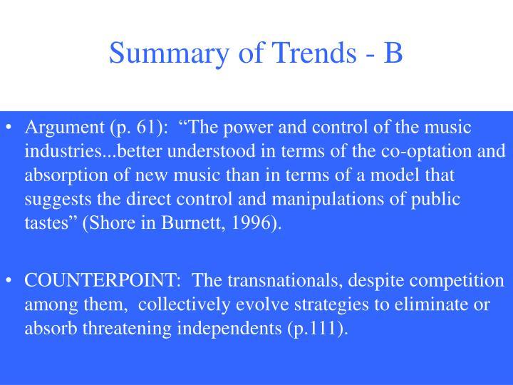 Summary of Trends - B
