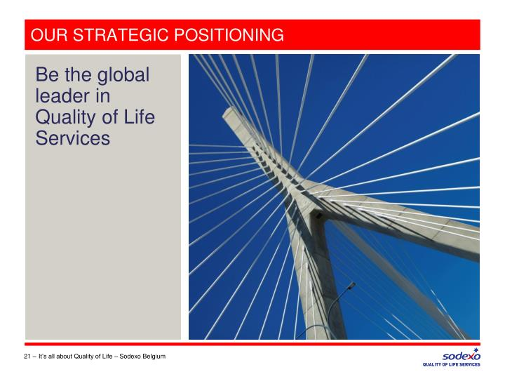 OUR STRATEGIC POSITIONING