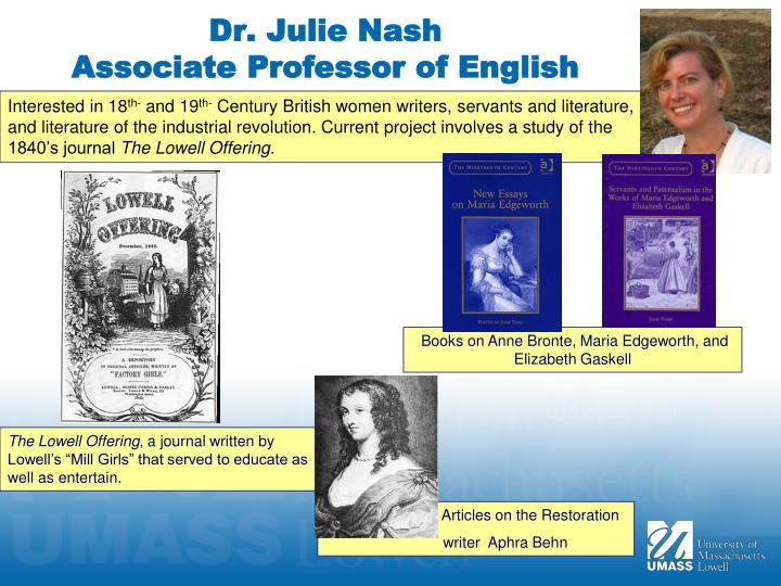 dr julie nash associate professor of english n.